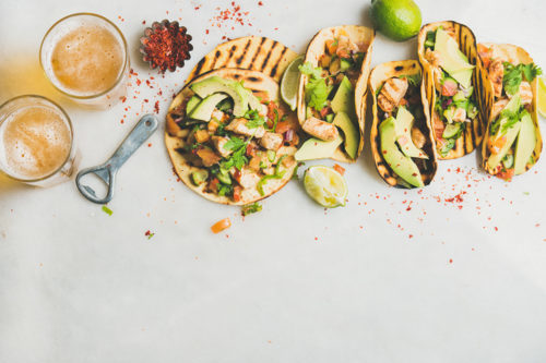 Mexican chicken and avocado tortillas